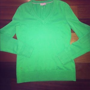 Lilly Pulitzer bright green v Neck Sweater